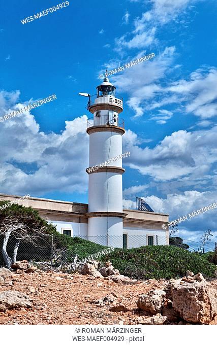 Spain, Mallorca, View of lighthouse at Cap de Ses Salines