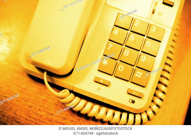 Close-up of classic buttons telephone