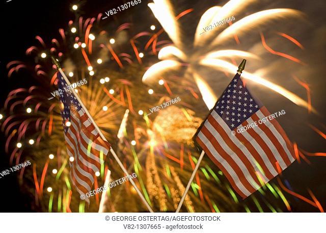 American flag with fireworks, Oregon Garden, Silverton, Oregon, USA
