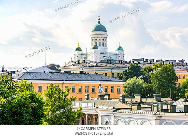 Finland, Helsinki, View to Helsinki Cathedral