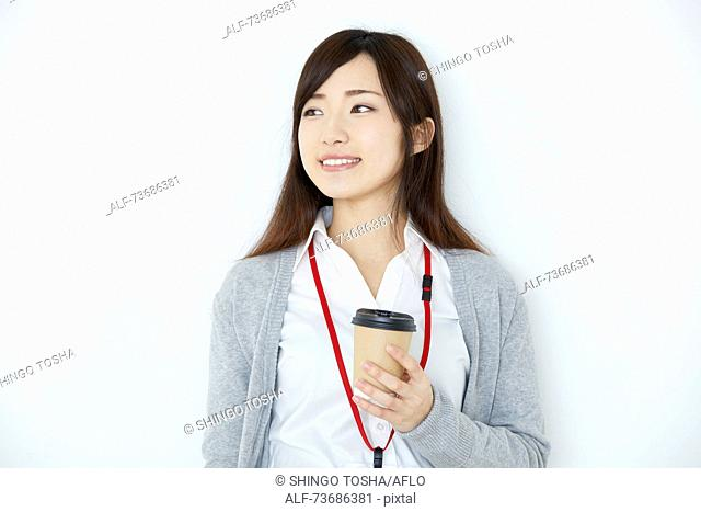 Japanese young woman on white background