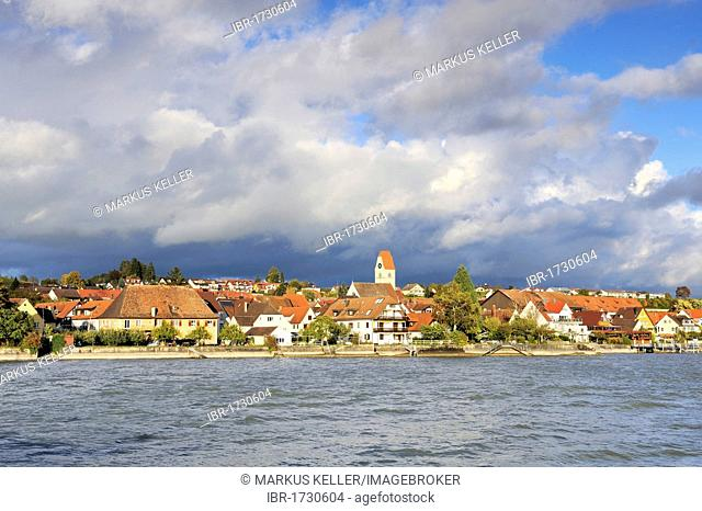 View from the pier towards the shore of the wine village of Hagnau, Lake Constance district, Baden-Wuerttemberg, Germany, Europe