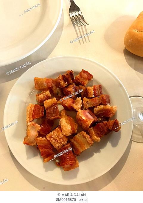 Torreznos serving. Spain