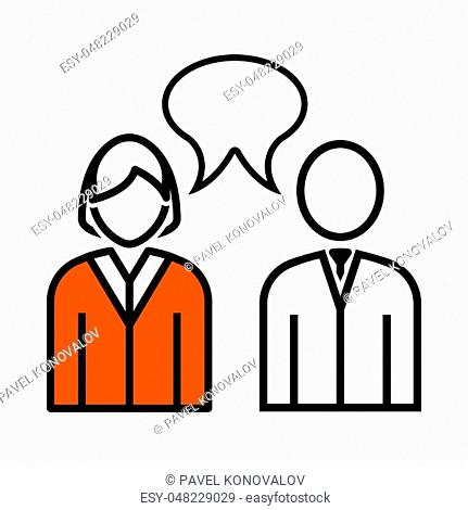 Chat Icon. Thin Line With Orange Fill Design. Vector Illustration
