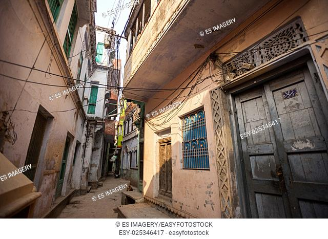 The narrow alleyways of Varanasi (Banaras), India