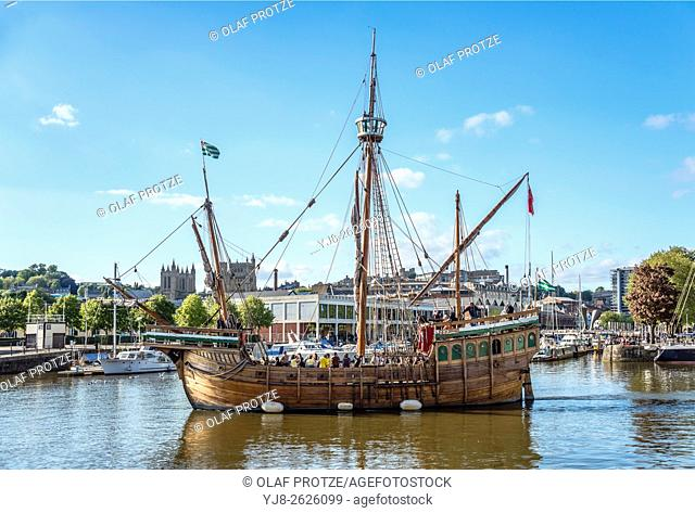 The Matthew, a replica ship that John Cabot and his crew used sailing to Newfoundland in 1497, in Bristol Harbour, United Kingdom