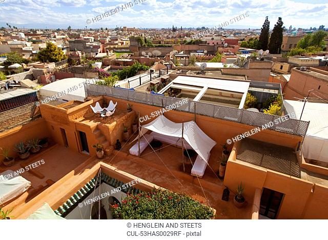Terrace and Marrakesh cityscape
