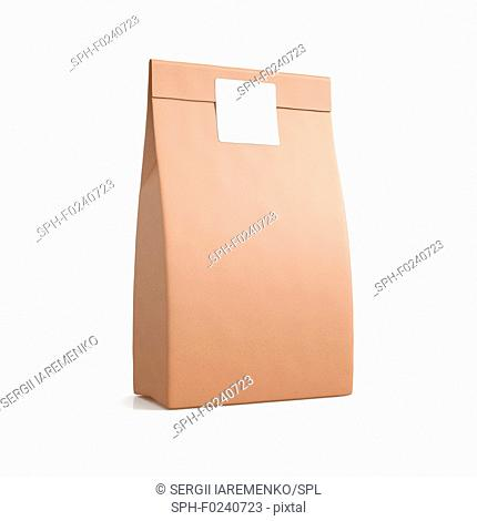 Brown paper pouch bag isolated on white background