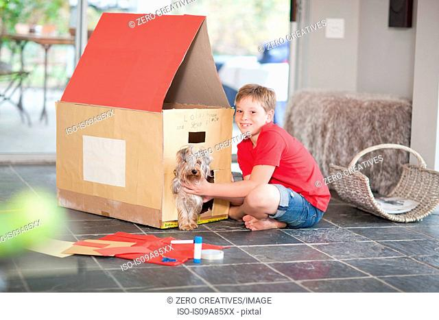 Boy building kennel for his dog