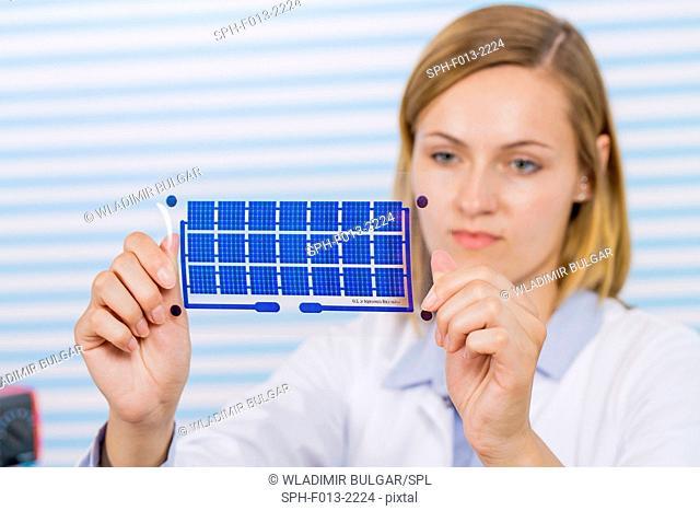 Female technician holding thin film solar cells