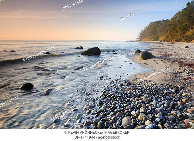Early morning on the beach on the Baltic coast, Ruegen, Mecklenburg-Western Pomerania, Germany, Europe