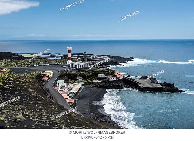 Coast with the Salinas Teneguía salt evaporation ponds, old and new lighthouse, on the southern cape of Punta de Fuencaliente, La Palma, Canary Islands, Spain