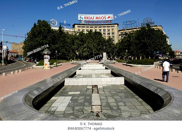 Beograd, dry fountain, building with an ad for the mineral water Knjaz Milos, Serbia-Montenegro, Belgrade