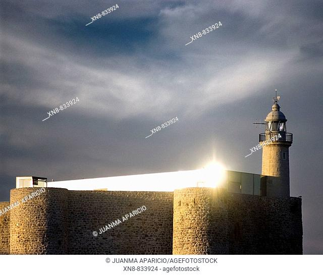 Santa Ana Castle and lighthouse. Castro Urdiales. Cantabria. Spain