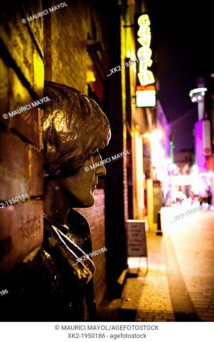 Close up of the John Lennon's head sculpture in Liverpool, UK