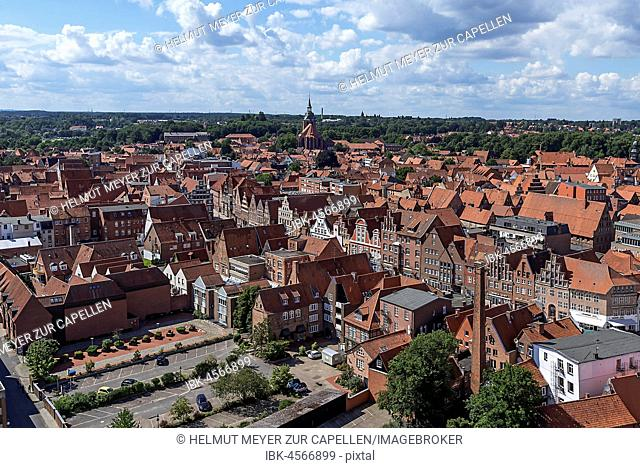 View from the former water tower to the old town with St. Michaeliskirche, Lüneburg, Lower Saxony, Germany