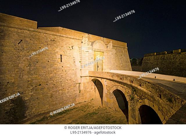 Entrance area of the military fortified castle of Sant Ferran, Figueres, Spain, at night