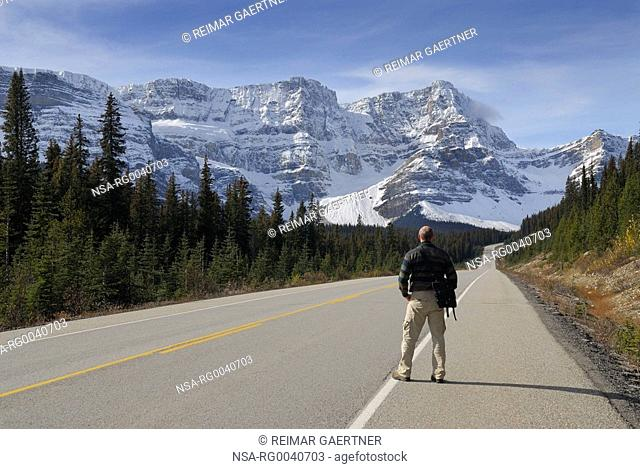 Tourist on Icefields Parkway looking at snow covered Waputik Range Alberte