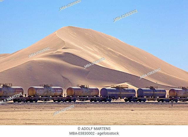 Africa, Namibia, desert, Namib desert, Erongo region, Dorob national park, dune area, goods train