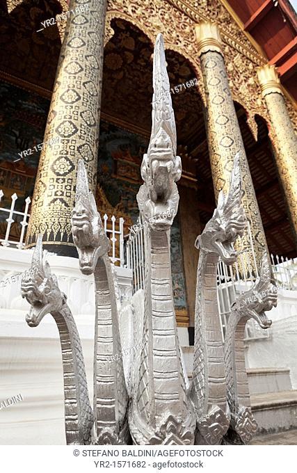 The silver nagas at Wat Ho Siang, Luang Prabang, Laos