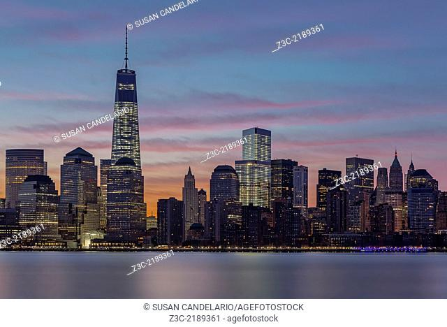 One World Trade Center commonly referred to as the Freedom Tower and the Financial District wake up to a magnificent show of colors during sunrise