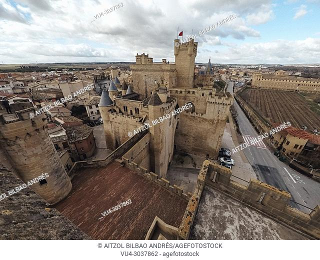 Olite medieval castle, in Navarre, Spain. This medieval building is amazing, you can visit it all the year. Near there is a small desert called Bardenas