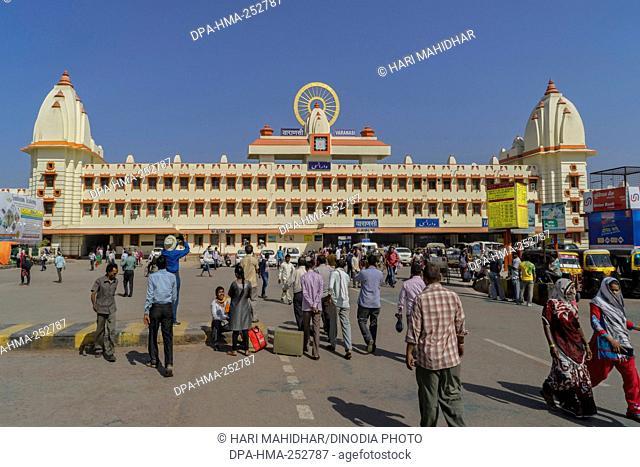 Railway station building, varanasi, uttar pradesh, india, asia