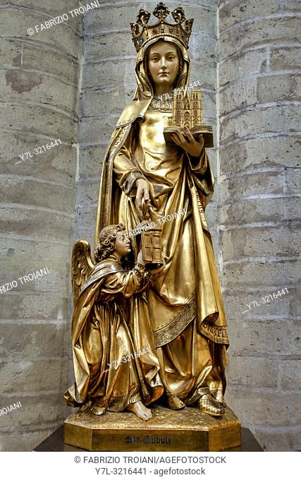 Statue of Saint Gudula in the Cathedral of St. Michael and St. Gudula, Bruxelles, Belgium