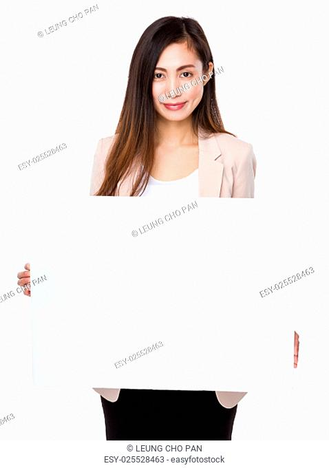 Asian businesswoman show with placard