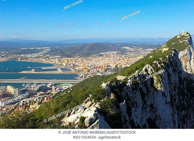 Top Of The Rock. Across Gibraltar To Spain. Gibraltar. UK