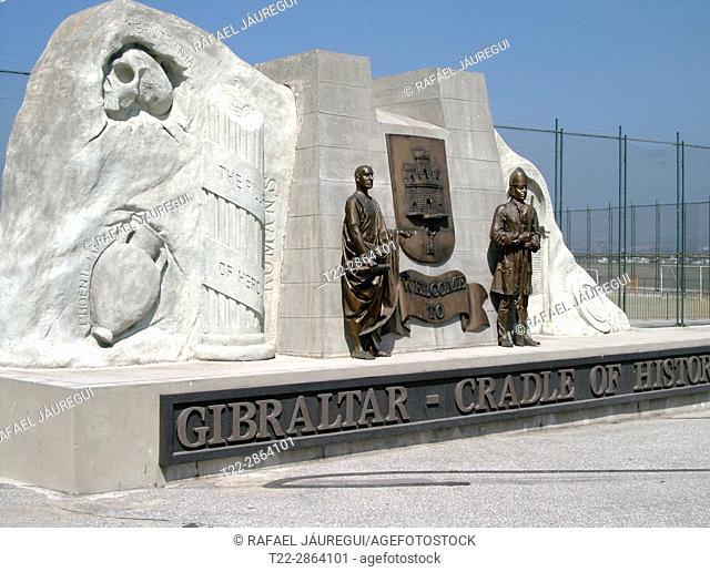 Gibraltar (United Kingdom). Monument to the columns of Hercules in Gibraltar