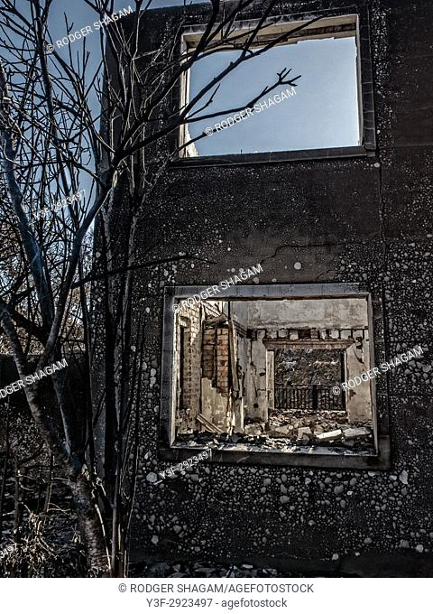 The remains. After a hughe fire that nearly destroyed the entire town of Knysna on the Cape South Coast. South Africa