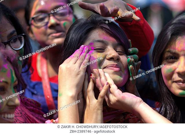 Dhaka,Bangladesh 5th March,2015.The Dol Utsav, a festival of the Hindu community, is being celebrated with colored powder in the country