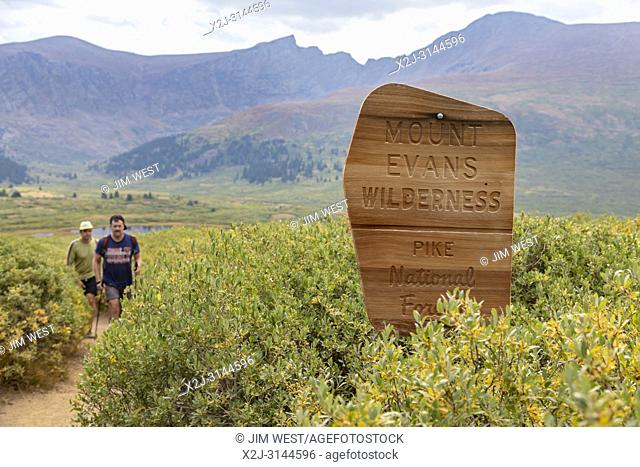 Georgetown, Colorado - Hikers on the trail from Guanella Pass to 14,060-foot Mt. Bierstadt in the Mt. Evans Wilderness Area