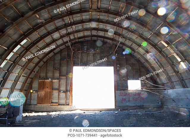 Interior of Abandoned Farm Equipment Shed