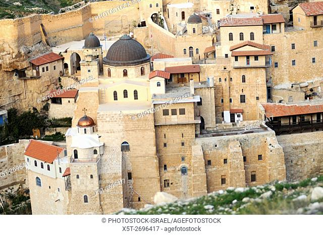 Israel, Judaea Dessert, Wadi Kidron, The Great Lavra of St. Sabas (also Mar Saba) is a Greek Orthodox monastery overlooking the Kidron Valley in the West Bank...