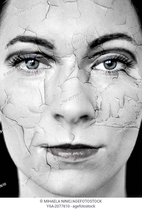 Woman with dry cracked skin, digital composite