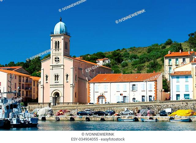 Church near harbor in Port Vendres at the cote Vermeille