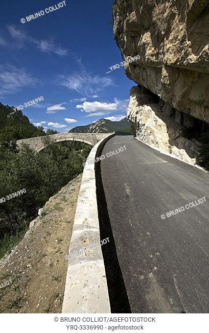 Castellane. view of Roc bridge. Alpes-de-Haute-Provence, France