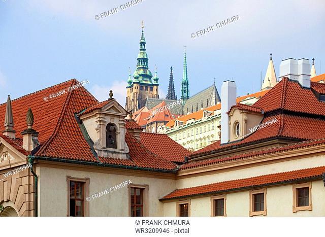 Czech Republic, Prague - View of St. Vitus Cathedral from Wallenstein Garden