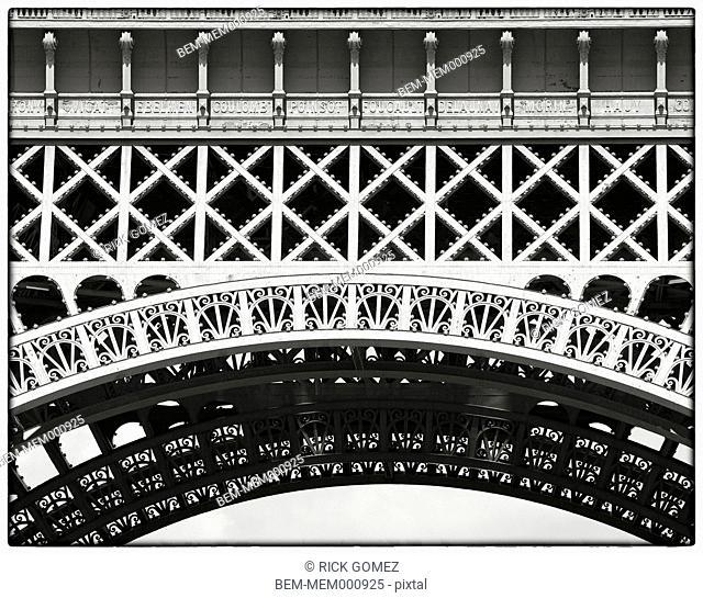 Detail of Eiffel Tower metalwork, Paris, France