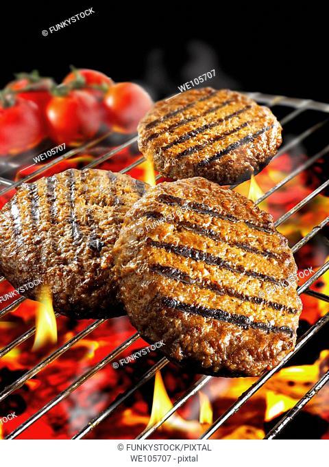 B-B-Q burgers cooking