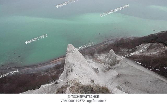 Chalk Cliffs, Leafless trees, Germany, Rügen, Mecklenburg-Western Pomerania, Baltic Sea, Europe