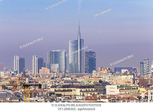 Unicredit Tower and the skyscrapers of Porta Nuova district from the rooftop of the Duomo di Milano, Milan, Lombardy, Italy