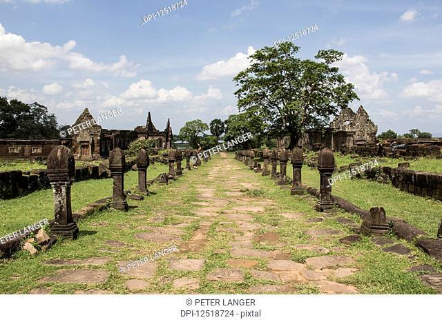 Causeway bordered by sandstone posts, Vat Phou Temple Complex; Champasak, Laos