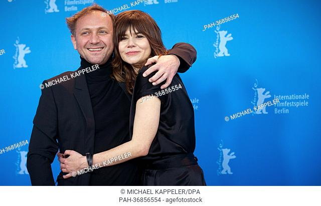 Director Malgoksa Szumowska of Poland (r) and actor Andrzej Chyra (l) pose at a photocall for «In the name of» (W imie) during the 63rd annual Berlin...