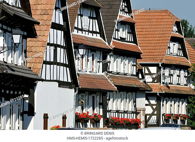 France, Bas Rhin, Hunspach, labelled Les Plus Beaux Villages de France (The Most beautiful Villages of France), timbered houses
