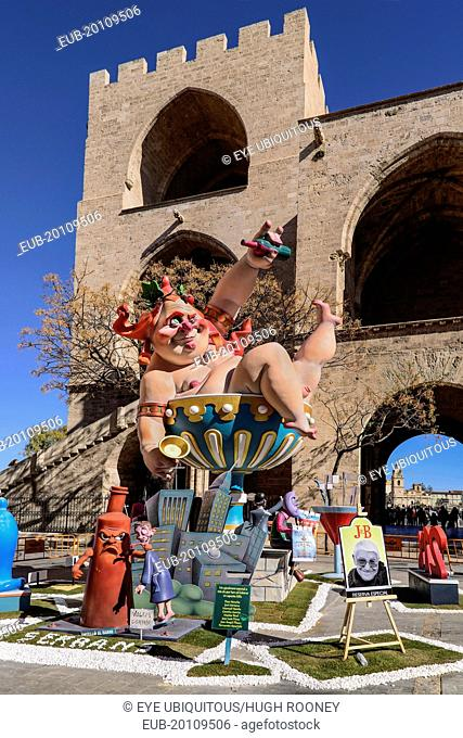 Grotesque Papier Mache figure at the Serranos Towers during Las Fallas festival