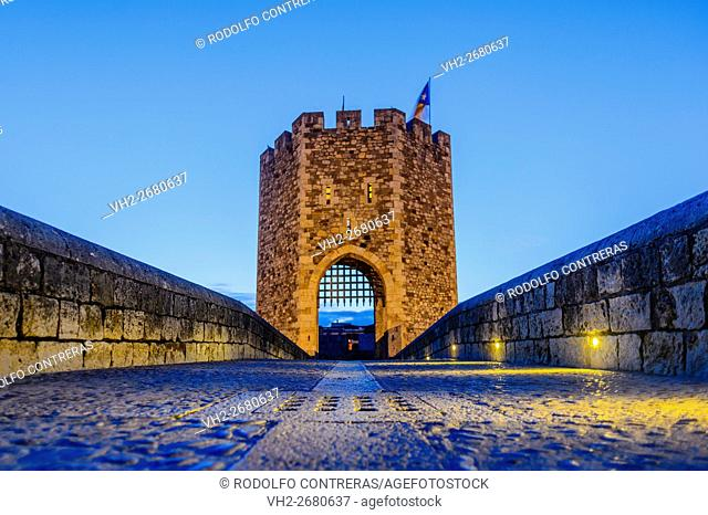 Medieval bridge in Besalú (at night)