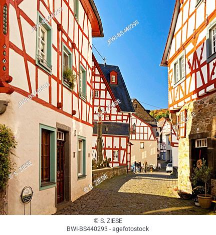historical city with timbered houses of Monreal, Germany, Rhineland-Palatinate, Eifel, Monreal